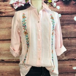 Edward Tops - Edward Pink Emroidered Linen Button Down Size S